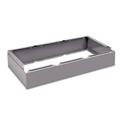 Three Wide Closed Locker Base, 36w x 18d x 6h, Medium Gray