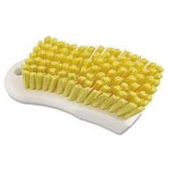 "Scrub Brush, Yellow Polypropylene Fill, 6"" Long, White"