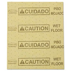 "Over-the-Spill Pad, ""Caution Wet Floor"", Yellow, 16 1/2"" x 20"", 22 Sheets/Pad"