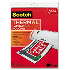 Letter Size Thermal Laminating Pouches, 3 mil, 11 1/2 x 9, 20/Pack