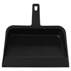 Heavy-Duty Plastic Dust Pan, 12w x 12d x 4h, Black, 12/Carton