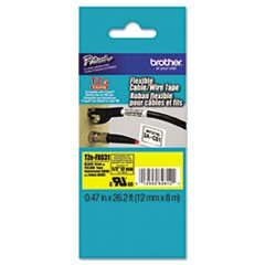 "TZe Flexible Tape Cartridge for P-Touch Labelers 1/2"" x 26-1/5ft Black on Yellow"