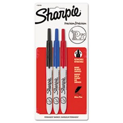 Retractable Permanent Marker, Ultra Fine Tip, Black, Blue, Red, 3/Set