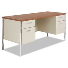 Double Pedestal Steel Credenza, 60w x 24d x 29-1/2h, Cherry/Putty