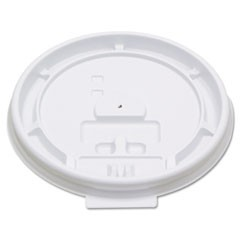 Hot Cup Tear-Tab Lids, Fits 8oz Cups, White, 100/Sleeve, 10 Sleeves/Carton