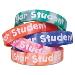Two-Toned Star Student Wristbands, 5 Designs, Assorted Colors, 10/Pack
