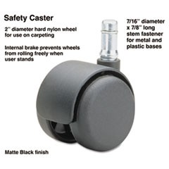 Safety Casters, Standard Neck, Nylon, B Stem, 110 lbs./Caster, 5/Set