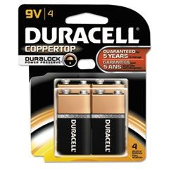 CopperTop Alkaline Batteries with Duralock Power Preserve Technology, 9V, 4/Pk