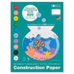 Heavyweight Construction Paper, 58 lbs., 9 x 12, Assorted, 500 Sheets/Pack