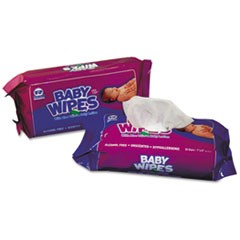 Baby Wipes Refill Pack, Scented, White, 80/Pack, 12 Packs/Carton
