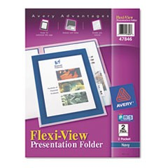 Flexi-View Two-Pocket Polypropylene Folder, Translucent/Navy, 2/Pack