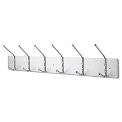 Metal Wall Rack, Six Ball-Tipped Double-Hooks, 36w x 3-3/4d x 7h, Satin Metal