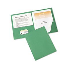"Two-Pocket Folder, Prong Fastener, Letter, 1/2"" Capacity, Green, 25/Box"