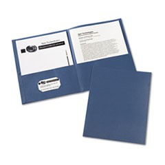 Two-Pocket Portfolio, Embossed Paper, 30-Sheet Capacity, Dark Blue, 25/Box