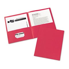 Two-Pocket Portfolio, Embossed Paper, 30-Sheet Capacity, Red, 25/Box