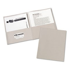 Two-Pocket Portfolio, Embossed Paper, 30-Sheet Capacity, Gray, 25/Box