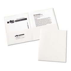 Two-Pocket Portfolio, Embossed Paper, 20-Sheet Capacity, White, 25/Box