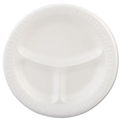 "Laminated Foam Plates, 9"" dia, White, Round, 3 Compartments, 125/Pk, 4 Pks/Ct"