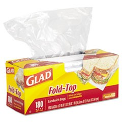 Fold-Top Sandwich Bags, 6 1/2 x 5 1/2, Clear, 180/Box