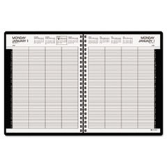 Eight-Person Group Practice Daily Appointment Book, 8 1/2 x 11, Black, 2016