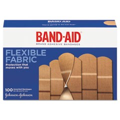 Flexible Fabric Adhesive Bandages, Assorted, 100/Box