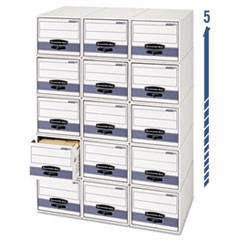 STOR/DRAWER Steel Plus Storage Box, Legal, White/Blue, 6/Carton
