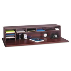 Low-Profile Desktop Organizer, 10 Sections, 57 1/2 x 12 x 12, Mahogany