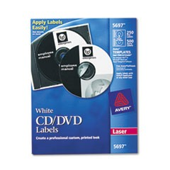 Laser CD Labels, Matte White, 250/Pack