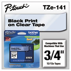 "TZe Standard Adhesive Laminated Labeling Tape, 3/4""w, Black on Clear"