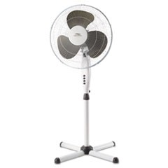 "16"" Three-Speed Oscillating Pedestal Fan, Three Speed, Metal/Plastic, White"