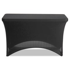 "Stretch-Fabric Table Cover, Polyester/Spandex, 24"" x 48"", Black"