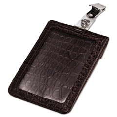 Croc-Textured Badge Holder, 2 1/2 x 3 3/4, Horizontal/Vertical, Black, 5/PK