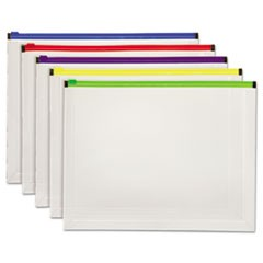 Poly Zip Envelope, 10 x 13, Open Side, Assorted, 5/Pack