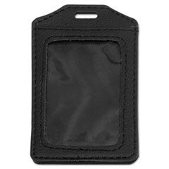 Leather-Look Badge Holder, 2 1/2 x 3 1/2, Vertical, Black, 5/PK