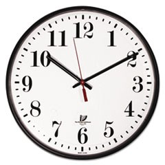 "Quartz Slimline Clock with Protective Cover, 12-3/4"", Black"