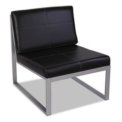 Alera Ispara Series Armless Cube Chair, 26-3/8 x 31-1/8 x 30, Black/Silver