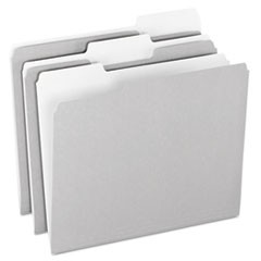 Colored File Folders, 1/3 Cut Top Tab, Letter, Gray/Light Gray, 100/Box