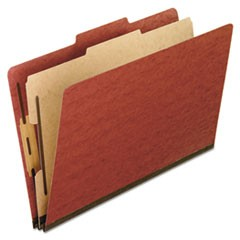 Four-Section Pressboard Folders, Letter, 2/5 Tab, Red, 10/Box
