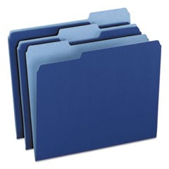 Colored File Folders, 1/3 CutTop Tab, Letter, Navy Blue/Light Navy Blue, 100/Box