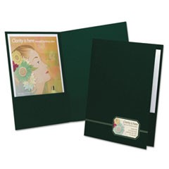 Monogram Series Business Portfolio, Premium Cover Stock, Green/Gold, 4/Pack