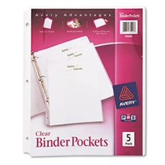 Binder Pockets, 3-Hole Punched, 9 1/4 x 11, Clear, 5/Pack