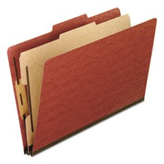 Four-Section Pressboard Folders, Legal, 2/5 Tab, Red, 10/Box