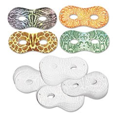 Embossed Paper Masks, Four Designs, 8 x 3 1/2, White, 24/Pack
