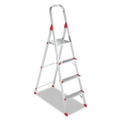 #566 Four-Step Folding Aluminum Euro Platform Ladder, Aluminum/Red