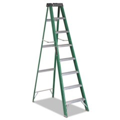 #592 Eight-Foot Folding Fiberglass Step Ladder, Green/Black