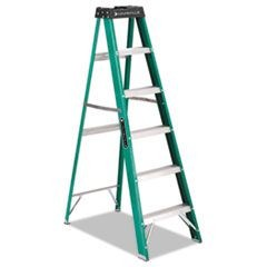 #592 Six-Foot Folding Fiberglass Step Ladder, Green/Black