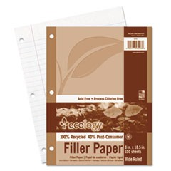 Ecology Filler Paper, 8 x 10-1/2, Wide Ruled, 3-Hole Punch, White, 150 Sheets/PK