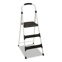 "Aluminum Step Stool, 3-Step, 225lb, 28 29/64"" Working Height, Platinum/Black"