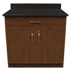 Hosp. Base Cabinet, Two Doors/Drawer, 36w x 24 3/4d x 40h, Cherry/Granite Nebula