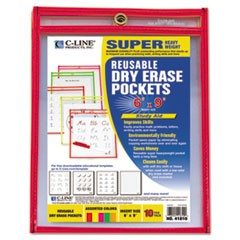 Reusable Dry Erase Pockets, 6 x 9, Assorted Neon Colors, 10/Pack